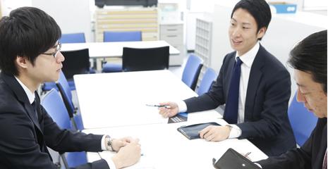 一日の流れ お客様の要望事項について、社内での打合せ。